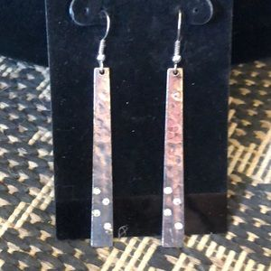 Earrings Hammered Silver Color w/rhinestone NEW